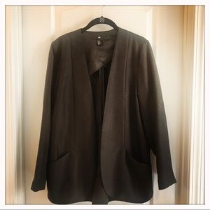 Charcoal Gray Open Front Blazer